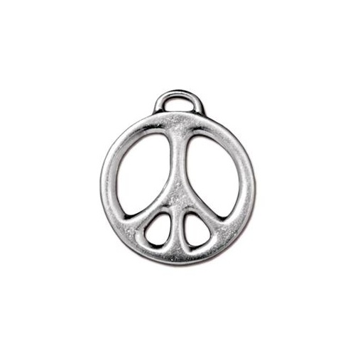"Peace 1"" Pendant Drop - Bright Rhodium"