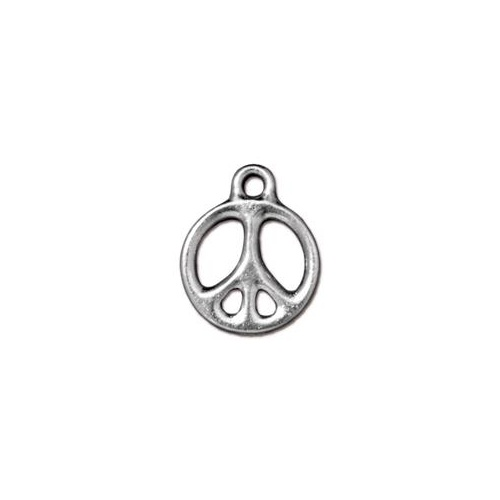 "Peace 5/8"" Drop - Bright Rhodium"