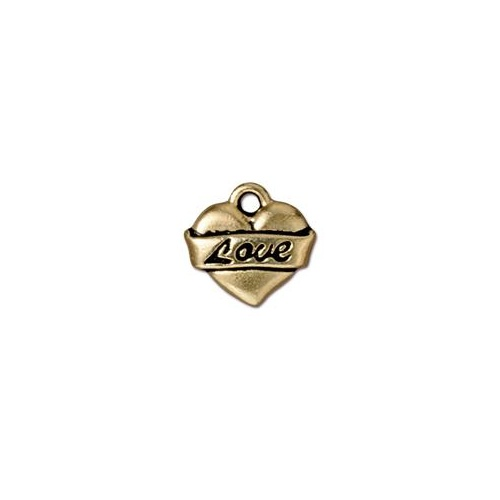 Love Heart Drop - Antique Gold