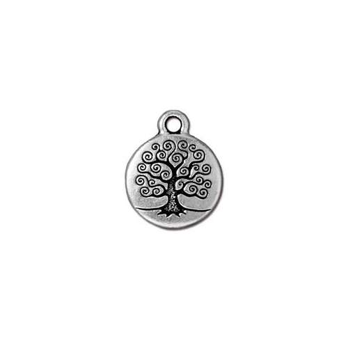 Tree of Life Drop - Antique Silver