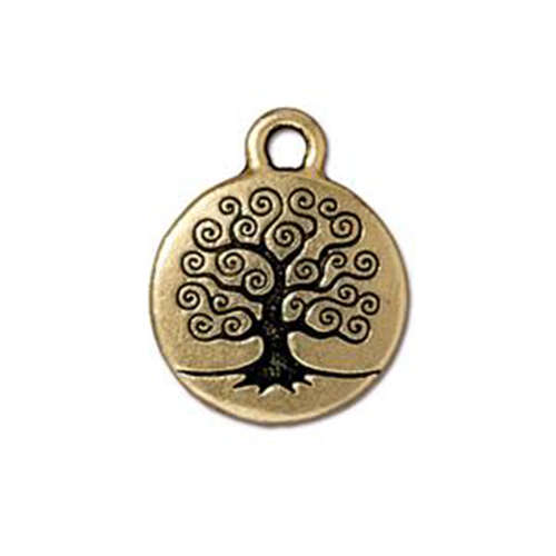 Tree of Life Drop - Antique Gold