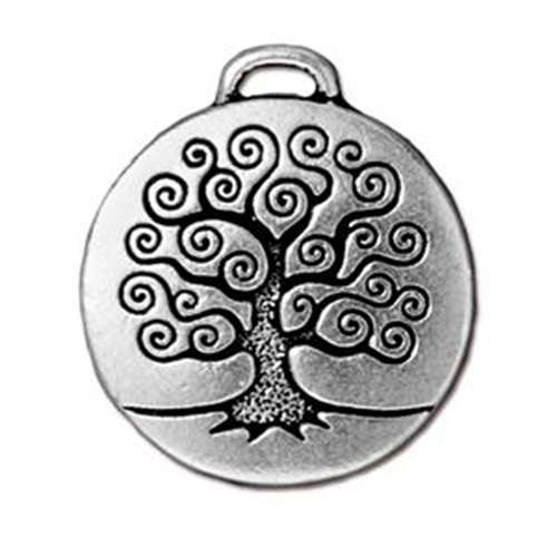 Tree of Life Pendant Drop - Antique Silver