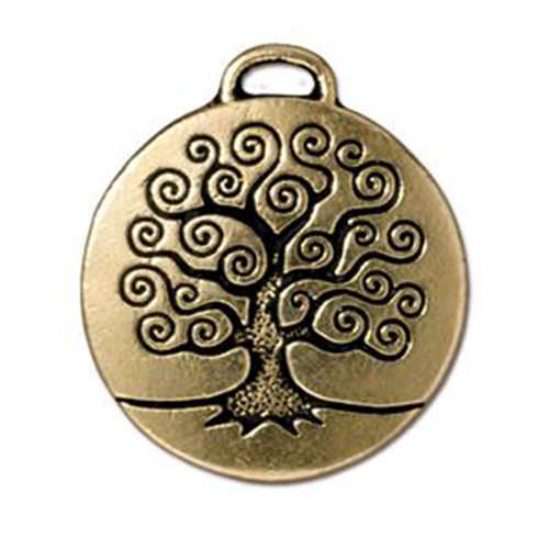 Tree of Life Pendant Drop - Antique Gold
