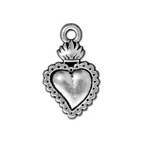 Heart Milagro Drop - Antique Silver