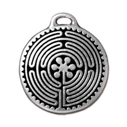 Labryinth Pendant Drop - Antique Silver