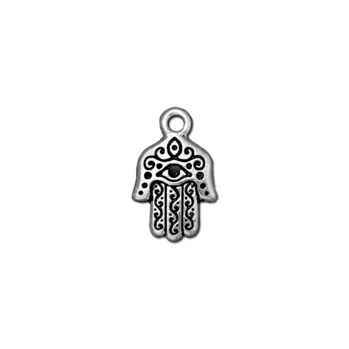 Hamsa Hand Drop - Antique Silver