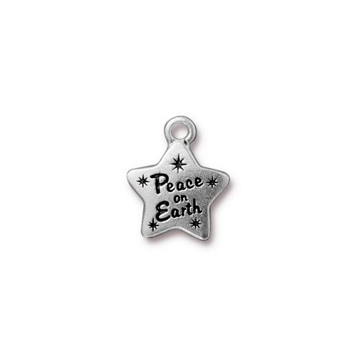 Peace Star Charm - Antique Silver