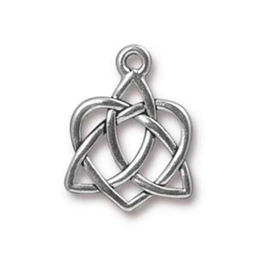 Celtic Open Heart Small Drop - Antique Silver
