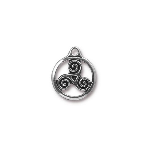 Triskele Small Drop - Antique Silver