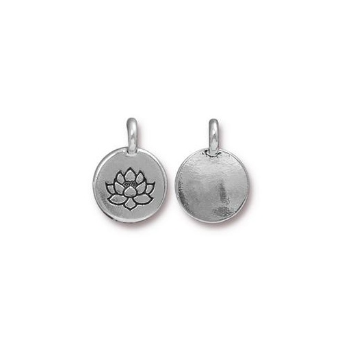 Lotus Charm - Antique Silver