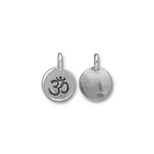 Om Charm - Antique Silver
