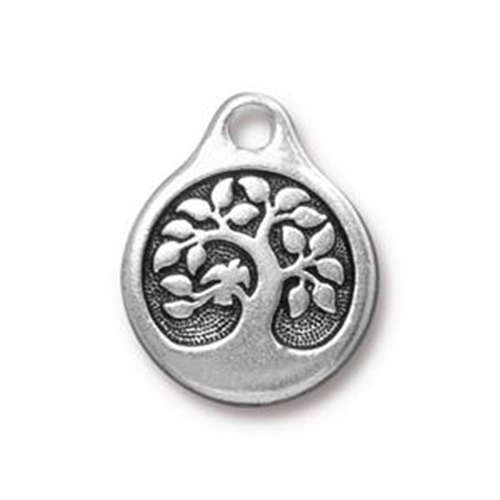 Bird in a Tree Drop - Antique Silver