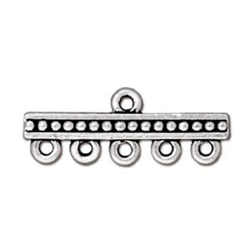 Beaded 1-5 Hole Link - Antique Silver