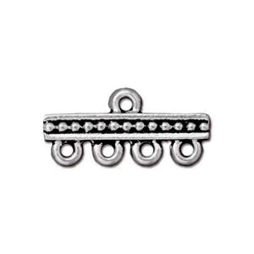 Beaded 1-4 Bar Link - Antique Silver