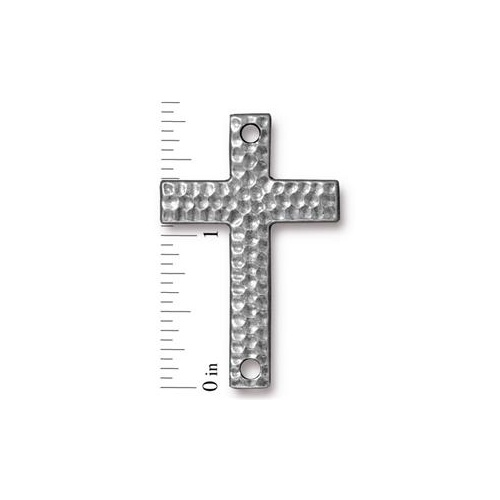 Hammertone Cross Link - Antique Pewter