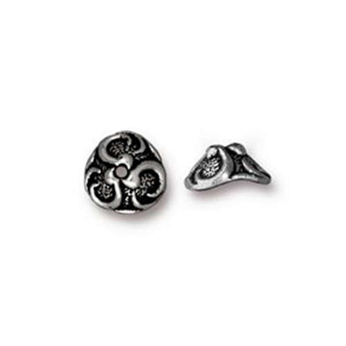 Lily 8mm Bead Cap - Antique Silver