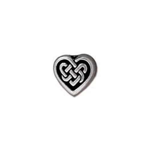 Celtic Heart Bead - Antique Silver