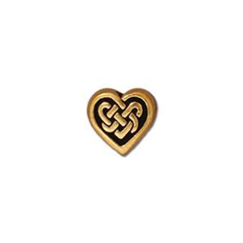 Celtic Heart Bead - Antique Gold