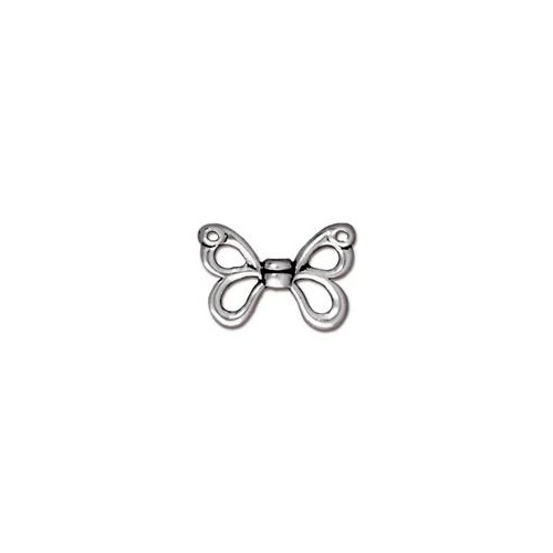 Butterfly Wing Bead - Antique Silver