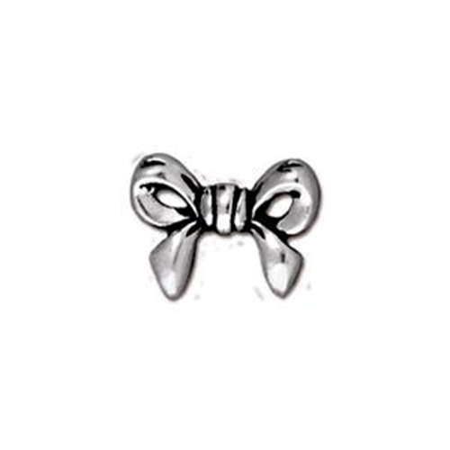 Bow Bead - Antique Silver