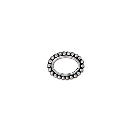 Oval 6mm x 9mm Bead Frame - Antique Silver