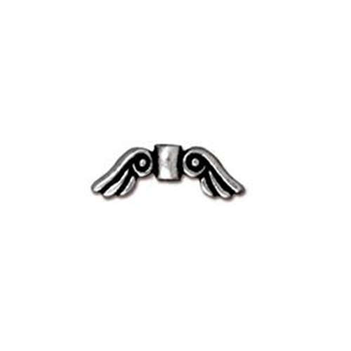 Angel Wings Small Bead - Antique Silver
