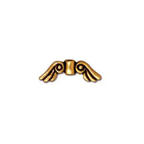 Angel Wings Small Bead - Antique Gold