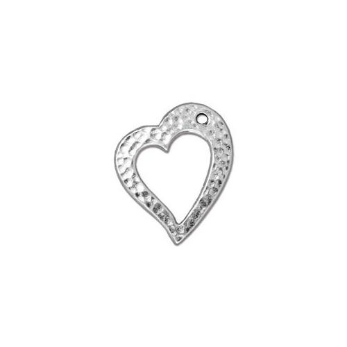 Hammertone Heart Clasp Ring - Bright Rhodium