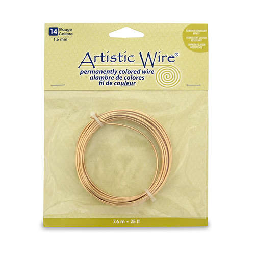 14 Gauge (1.6 mm) - 10 ft (3.1 m) - Tarnish Resistant Brass - AWB-14-NTB-25FT