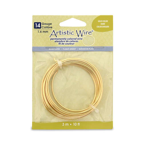 14 Gauge (1.6 mm) - 10 ft (3.1 m) - Silver Plated - Gold Color - AWB-12S-03-10FT