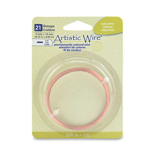 21 Gauge Flat Wire - 3 mm x .75 mm (0.12 in x 0.03 in) - 3 ft (.91 m) - Bare Copper - AWB-21F-BC-03FT