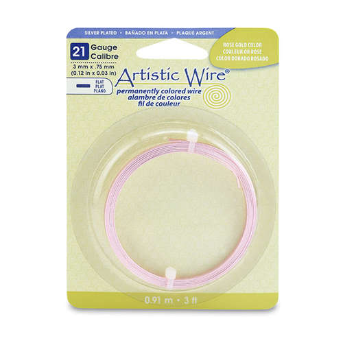 21 Gauge Flat Wire - 3 mm x .75 mm (0.12 in x 0.03 in) - 3 ft (.91 m) - Silver Plated - Rose Gold Colour - AWB-21F-S21-03F