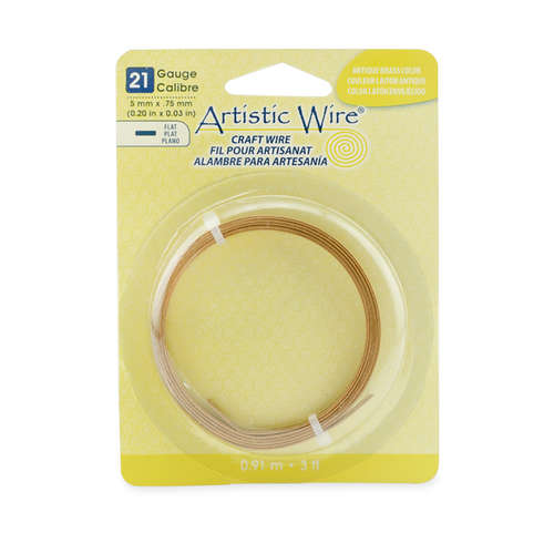 21 Gauge Flat Wire - 5 mm x .75 mm (0.20 in x 0.03 in) - 3 ft (.91 m) - Antique Brass Color - AWB-21F5-24-03F