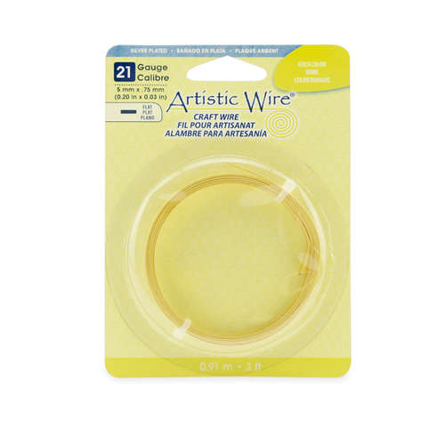 21 Gauge Flat Wire - 5 mm x .75 mm (0.20 in x 0.03 in) - 3 ft (.91 m) - Silver Plated - Gold Color - AWB-21F5-S03-03