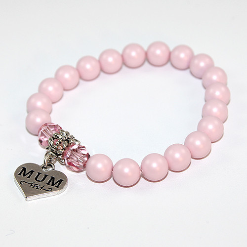 Mum Charm Bracelet with Swarovski Crystal Pearls and Round Crystal Beads - Pastel Pink & Light Rose