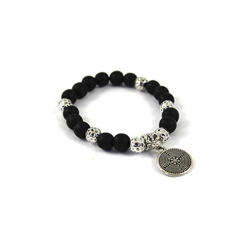 Black Resin & Hammertone Bead Bracelet with TierraCast Labryinth Charm