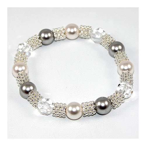 Elsa Bracelet - Swarovski® Crystal and Pearl on elastic - Light Grey and White