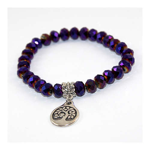 Fire polish and bird charm bracelet - Purple