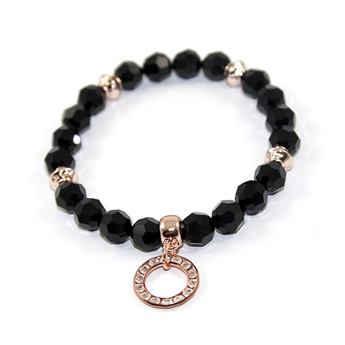 Rosette - Swarovski Crystal Bracelet with Swarovski Circle - Jet and Rose Gold
