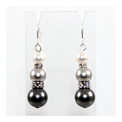 Penny - Swarovski Pearl and Rondelle Earrings - Greys