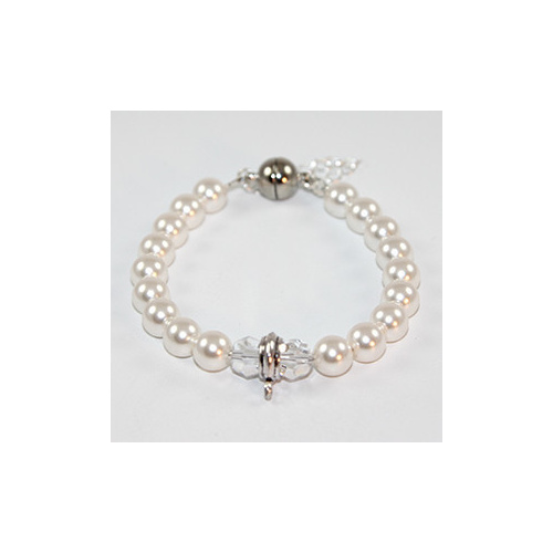 Interchangeable Charm Bracelet with Swarovski Pearls & Crystals - Crystal White & Crystal