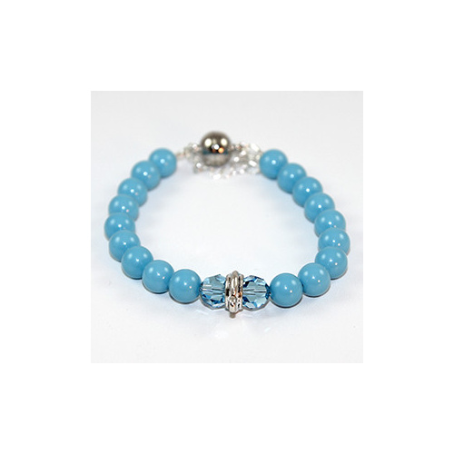 Interchangeable Charm Bracelet with Swarovski Pearls & Crystals - Turquoise & Aquamarine