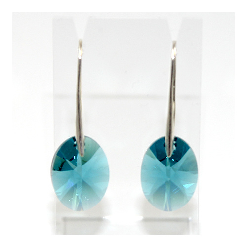 Oval Earrings - Swarovski® Crystal Indicolite