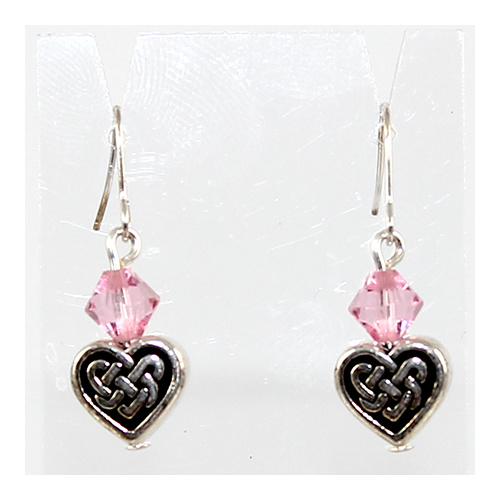 Ciara Earrings - Swarovski® Crystal- Antique Silver and Light Rose