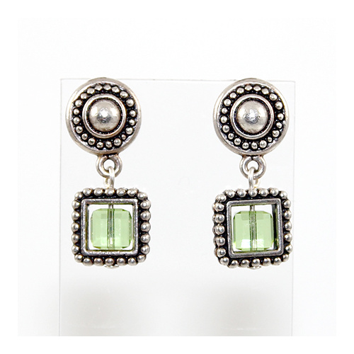 Beaded Stud and Square Frame Earring with Swarovski Round Crystal - Peridot