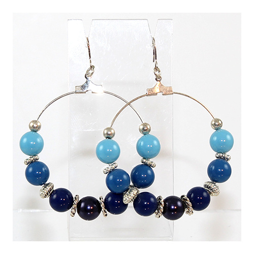 Hoop Earrings - Silver & Swarovski® Crystal Pearls - Blues