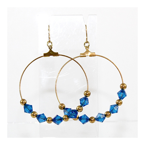 Hoop Earrings - Gold & Swarovski® Crystal - Capri Blue