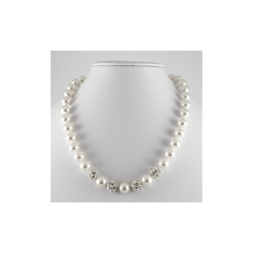 Hand Knotted Swarovski© Pearls with Swarovski©  Crystal Balls - Crystal White & Crystal