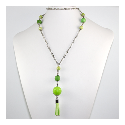 Layla Tassel Necklace - Greens