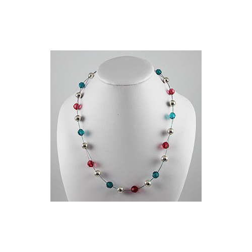 Freda Necklace - Swarovski© Crystal & Silver Balls - Indian Pink, Blue Zircon